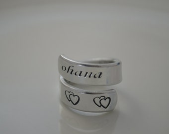 Ohana means family, Ohana Ring, Lilo and Stitch, Disney Ring, Disney Jewelry, Personalized Ring, Quote Ring, Quote Jewelry, Gifts Under 10
