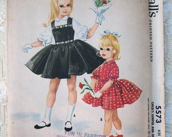 Vintage 50s Girls Jumper and Dress designed by Helen Lee. McCall's 5573 Sewing Pattern. Size 2