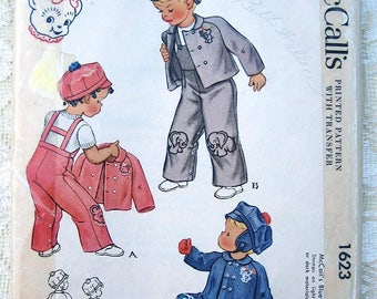 Vintage 40s Toddlers Cap, Jacket & Overalls.  McCall Printed Sewing Pattern 1623.  Size 1