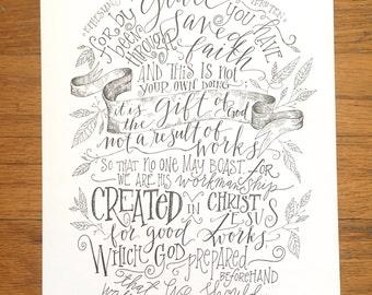 Ephesians 2:8-11 |  8x10  Print