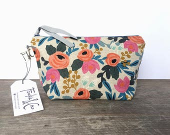 Coral Floral Canvas Cosmetic Bag, Bridesmaid Gift, Holiday Gift, Floral Canvas Pouch, Pencil Case, Floral Canvas Travel Bag, Rifle Paper Co