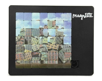 Vintage Sliding Tile Puzzle by Pussicat. Rene Magritte. Made in Germany.