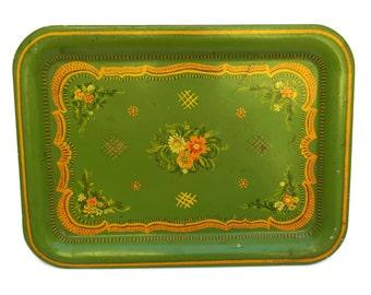 Vintage Swedish Folk Tole Serving Tray. Green Boho Drinks Tray.