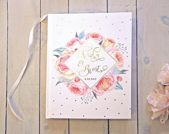 Floral Gold Foil Wedding Guestbook • Modern Watercolor Custom Guest Book • Boho Romance • 8 x 10
