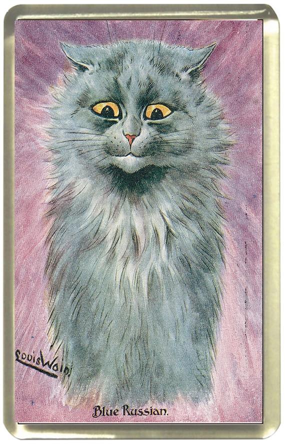 Louis Wain Blue Russian Cat Fridge Magnet 7cm by 4.5cm