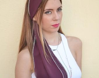 Burgundy Headband, Burgundy Hair Scarf, Womens Head Scarfs, Hair Covering, Long Hair Accessory, Tie Back Headscarf, Retro Head Scarf, Scarfs