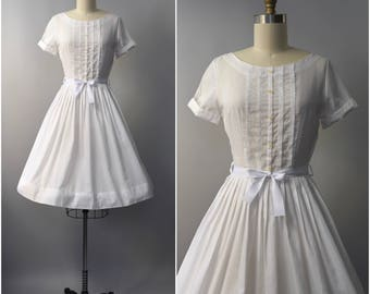 1950's Carolina Reid white cotton sun dress • small