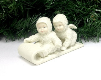 adorable Snowbabies Down the Hill We Go Tobaggan Dept 56 figurine; snow baby snowman Christmas, nursery kitsch holiday display yesteryears