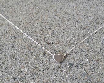 Silver Heart Necklace, Tiny Heart, Silver, Tiny Necklace, Silver Necklace, Heart Necklace