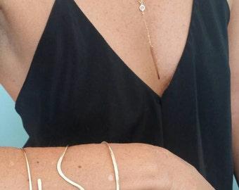 Elegant Y Necklace, Swarovski, Simple Necklace, Layering Necklace, Long,  Dressy Necklace, Y Necklace, Gold, Silver