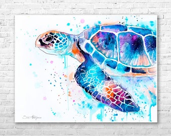 Sea turtle watercolor painting print by Slaveika Aladjova, art, animal, illustration, Sea art, sea life art, home decor, Wall art