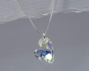 Crystal Heart Necklace, Swarovski Crystal Heart Pendant, Bridesmaid Gift, Weddindg Necklace, Bridesmaid Necklace, Heart Necklace, Mom Gift