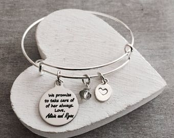 We promise to take, care of her always, Birthmother, Birth Mom, Birth Mother, Baby adoption, Silver Bracelet, Charm Bracelet, Keepsake, Gift