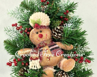 Christmas Wall Tree, Gingerbread Wreath, Christmas Wreath, Holiday Wreath, Gingerbread Wall Tree, Christmas Wreaths, Gingerbread, Wreaths