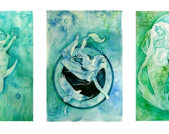 Water Element Goddess Set -  Zodiac Goddesses - 3x Fine Art Archival Prints - Cancer, Scorpio, Pisces