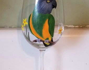 Senegal wine glass, hand painted