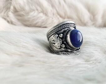 Lapis Stone Ring Lapis Ring Lapis Jewelry Gemstone Silver ring jewelry unisex adjustable natural gemstone boho bohemian layering stackable