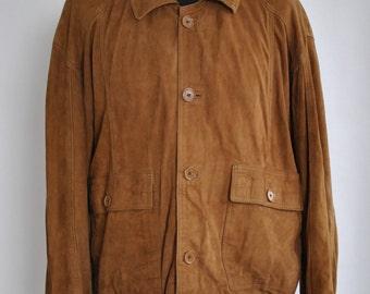 Vintage SUEDE LEATHER JACKET , men's bomber leather jacket ............(259)