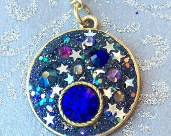 Night Sky necklace, Galaxy Necklace, my own planet, solar system, stars and planets, outer space, blue moon jewelry, beaded chain, Swarovski
