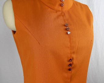 1960's 1970's Burnt Orange Sleeveless Scooter Dress