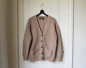 Wool cardigan ribbed light brown beige v neck vintage 70s grandpa cardigan classic vintage cardigan with pockets winter pure wool - S / M
