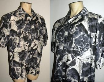 1990s 90s Silk shirt / Abstract Print / Black, Bluish Gray & White / Vintage / Men's L
