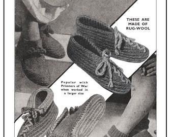1940s Wartime Slipper Shoe Vintage Knitting Pattern - Instant Download