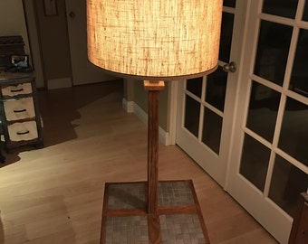 Vintage Mid Century Square Wood and Tile Table Top Martz Style Floor Lamp