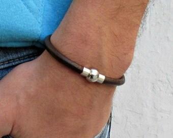 Genuine Leather Mens Bracelet, Mens Leather Bracelet, For Men, For Husband, Boyfriend Gift, Gift,  Men's Bracelet,  Mens Gift
