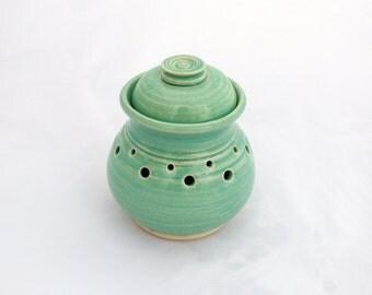 Garlic Jar, Garlic Pot, Ceramic Garlic Jar, Ventilated Garlic Jar, White Stoneware, Aqua Celadon Glaze