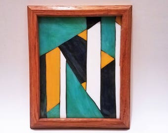 Geometric Shapes Mosaic Glass Picture, Simple Abstract Art, Multicolored Glass, One of a Kind Mosaic, Framed Mosaic, Decorative Glass Art