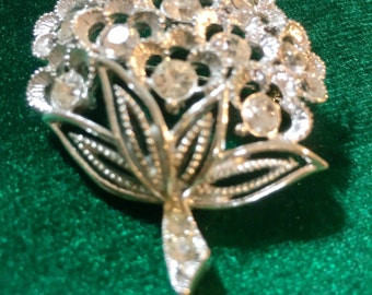 "Gorgeous Sarah Coventry Signed Silver Rhinestone Brooch / Pin ""FREE SHIPPING"""