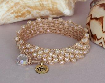 Cream Pearl Beaded Crochet Wrap Bracelet, Layered Pearl Crochet Necklace, Crochet Anklet, Crocheted Jewelry, Boho Multi Wrap Crochet Jewelry