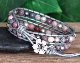 Beaded Leather Double Wrap Bracelet, Terra Rosa Jasper and Pearls on Silver Leather, Pink Cream Gray Jasper and Pearl Bracelet, Gift For Her