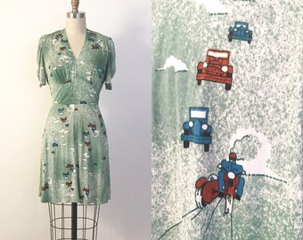 vintage 1940s style dress | 70s jersey dress with a badass motorcycle and car novelty print