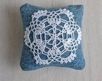 Lace pincushion Crochet pin cushion Sewing denim pincushions Needle bed Needles pins keeper Crocheted detail pillow Crochet motif Jeans gift