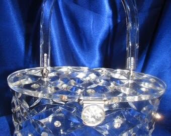 VINTAGE RIALTO Of NY Clear Carved Daisy Design Lucite With Rhinestones B4