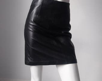 Bad Ass 1990s / 90s Genuine Black Leather Fitted Cute Goth Girl Cool Femme Fatale Street Chic Mini Skirt {28 WAIST}