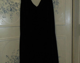 Black Velvet Dress with Beaded Hem, Size Size 14