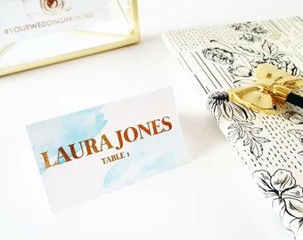 Blue Watercolor Card, Wedding Place Card, Gold Wedding Decor, Real Gold Foil, Wedding Escort Card, Reception Card, Custom Wedding Decor