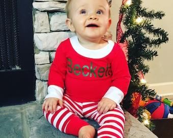 Christmas Pajamas, Holiday Pajamas, Christmas PJs, Christmas PJ's, Personalized pajamas, First christmas outfit, baby girl christmas pajamas