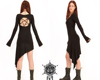 Pentagram dress. Goth dress. Gothic dress, sacred geometry dress, tetragramaton, punk dress, techno punk, cyber punk