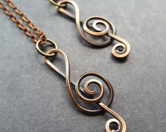 Treble Cleft Necklace, Treble Cleft Jewelry, Music Gift, Music Teach Gift, Gifts for Music Lovers, Gifts for Teachers, Oxidized Copper Note