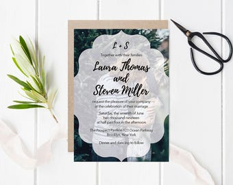 Photo Wedding Invitation Template, Printable Photo Wedding Invitations, LDS Wedding Invitation, Editable PDF Templates, DIY You Print