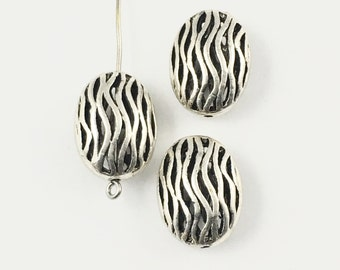 3 metal beads,15.5mm x 20mm ,antique silver #PM006