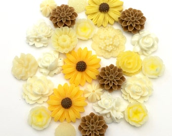 25 pcs resin cabochon flowers mix ,assorted sizes,#FL 068