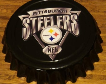 """Pittsburgh Steelers NFL Football Giant 16"""" Bottle Cap Wall Hanging for Man Cave"""