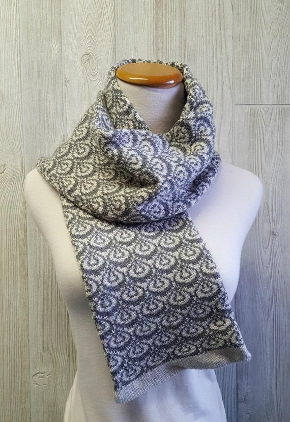 Warm scarf knit scarf fair isle scarf classic length scarf