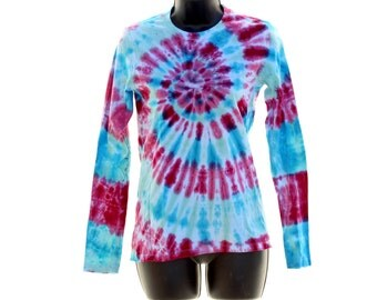 Tie Dye Womens Long Sleeve, Pink and Teal Shirt, Trippy Psychedelic Ladies Winter Clothes