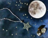 Hand Crocheted Star Pendant Microcrochet Necklace Dark Grey Hematite Sterling Silver Cotton Night Natural Nature Inspired Space Stargazing